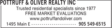 Pottruff & Oliver Realty Inc (905-549-6515) - Annonce illustrée======= - Trusted residential specialists since 1977 FREE MARKET EVALUATIONS www.pottruffandoliver.com Trusted residential specialists since 1977 FREE MARKET EVALUATIONS www.pottruffandoliver.com