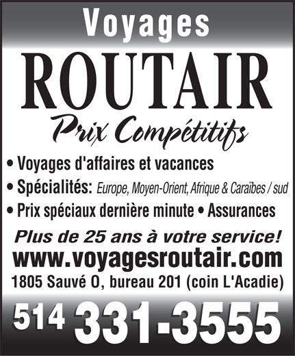 Voyages Routair (514-331-3555) - Display Ad -