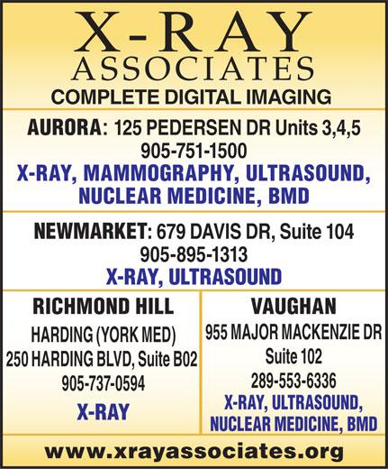 X-Ray Associates (289-553-6336) - Display Ad -