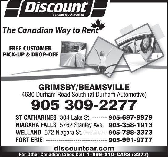 Discount Car and Truck Rentals (905-309-2277) - Annonce illustrée======= -