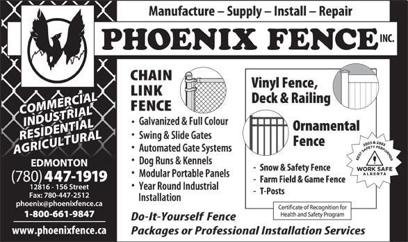 Phoenix Fence Inc (780-447-1919) - Annonce illustrée======= -