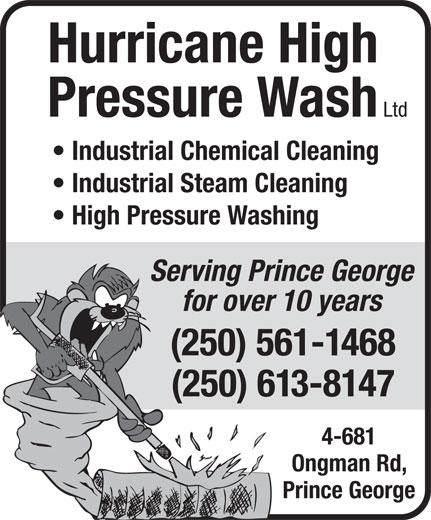Hurricane High Pressure Wash Ltd (250-561-1468) - Display Ad -