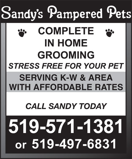 Sandys Pampered Pets (519-571-1381) - Annonce illustrée======= - SERVING K-W & AREA WITH AFFORDABLE RATES CALL SANDY TODAY