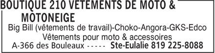 Boutique 210 Vêtements De Moto & Motoneige (819-225-8088) - Annonce illustrée======= - Big Bill (vêtements de travail)-Choko-Angora-GKS-Edco Vêtements pour moto & accessoires Big Bill (vêtements de travail)-Choko-Angora-GKS-Edco Vêtements pour moto & accessoires