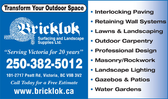 Bricklok Surfacing & Landscaping (250-382-5012) - Display Ad -