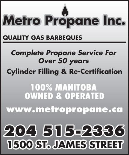 Metro Propane Inc (204-774-2497) - Annonce illustrée======= -
