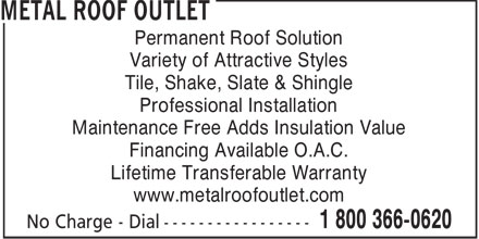 Metal Roof Outlet (519-688-2200) - Display Ad - Permanent Roof Solution Variety of Attractive Styles Tile, Shake, Slate & Shingle Professional Installation Maintenance Free Adds Insulation Value Financing Available O.A.C. Lifetime Transferable Warranty www.metalroofoutlet.com  Permanent Roof Solution Variety of Attractive Styles Tile, Shake, Slate & Shingle Professional Installation Maintenance Free Adds Insulation Value Financing Available O.A.C. Lifetime Transferable Warranty www.metalroofoutlet.com  Permanent Roof Solution Variety of Attractive Styles Tile, Shake, Slate & Shingle Professional Installation Maintenance Free Adds Insulation Value Financing Available O.A.C. Lifetime Transferable Warranty www.metalroofoutlet.com  Permanent Roof Solution Variety of Attractive Styles Tile, Shake, Slate & Shingle Professional Installation Maintenance Free Adds Insulation Value Financing Available O.A.C. Lifetime Transferable Warranty www.metalroofoutlet.com  Permanent Roof Solution Variety of Attractive Styles Tile, Shake, Slate & Shingle Professional Installation Maintenance Free Adds Insulation Value Financing Available O.A.C. Lifetime Transferable Warranty www.metalroofoutlet.com  Permanent Roof Solution Variety of Attractive Styles Tile, Shake, Slate & Shingle Professional Installation Maintenance Free Adds Insulation Value Financing Available O.A.C. Lifetime Transferable Warranty www.metalroofoutlet.com