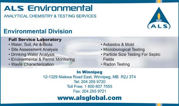 ALS Global (204-255-9720) - Annonce illustrée======= - www.alsglobal.com