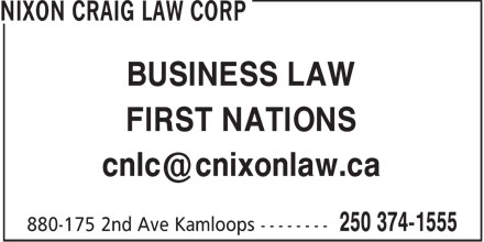 Nixon Craig Law Corp (250-374-1555) - Annonce illustrée======= - BUSINESS LAW FIRST NATIONS