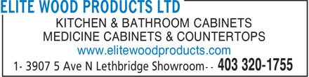 Elite Wood Products Ltd (403-320-1755) - Annonce illustrée======= - KITCHEN & BATHROOM CABINETS MEDICINE CABINETS & COUNTERTOPS www.elitewoodproducts.com  KITCHEN & BATHROOM CABINETS MEDICINE CABINETS & COUNTERTOPS www.elitewoodproducts.com