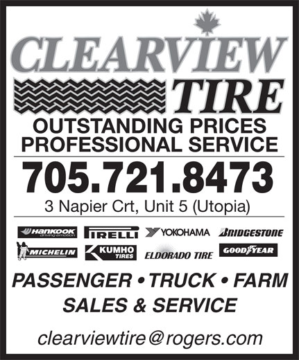 Clearview Tire (705-721-8473) - Display Ad -