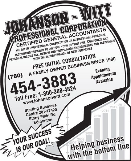 Johanson-Witt Professional Corp (780-454-3883) - Display Ad - JOHANSON - WITTJOHANSON - WITTPROFESSIONAL CORPORATION PROFESSIONAL CORPORATION CERTIFIED GENERAL ACCOUNTANTS WE OFFER PROFESSIONAL CONSULTATION ON BUSINESS AND PERSONAL ACCOUNTING DESIGNED TO IMPROVE YOUR BOTTOM LINE. CORPORATE AND PERSONAL INCOME TAX, REVIEW AND COMPILATION ENGAGEMENTS AND ASSISTANCEWITH THE INCORPORATION OF NEW COMPANIES FREE INITIAL CONSULTATION Evening A FAMILY OWNED BUSINESS SINCE 1980 Appointments (780) Available 454-3883 Toll Free: 1-800-308-4824 Helping business www.johansonwitt.com Sterling Business 2013 2012 2011 Centre 201-17420 2010 Stony Plain Rd Edmonton 2009 2008 2007 YOUR SUCCESS Helping business IS OUR GOAL! with the bottom linewith the bottom line