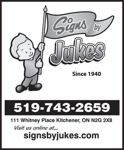 Jukes Sign Studios Ltd (519-743-2659) - Annonce illustrée======= -
