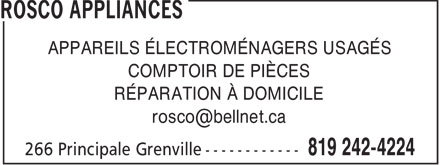 Rosco Appliances (819-242-4224) - Display Ad - APPAREILS ÉLECTROMÉNAGERS USAGÉS COMPTOIR DE PIÈCES RÉPARATION À DOMICILE rosco@bellnet.ca