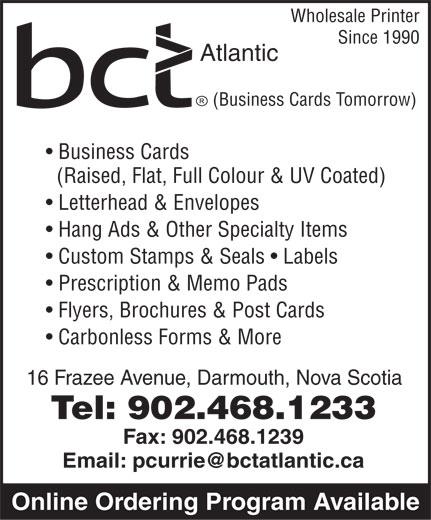 Business Cards Tomorrow (902-468-1233) - Annonce illustrée======= -