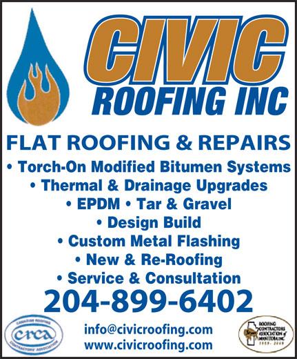 Civic Roofing Inc (204-899-6402) - Annonce illustrée======= -
