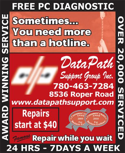 Datapath Support Group (780-463-7284) - Annonce illustrée======= - DataPath Support Group Inc.  DataPath Support Group Inc.
