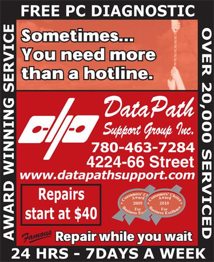 Datapath Support Group Inc (780-463-7284) - Annonce illustrée======= - DataPath DataPath Support Group Inc. Support Group Inc.