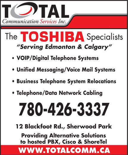 Total Communication Services Inc (780-426-3337) - Annonce illustrée======= -