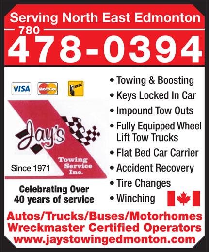 Jay's Towing Service (780-478-0394) - Annonce illustrée======= -