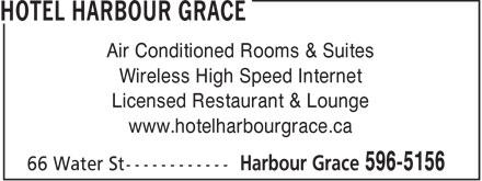 Hotel Harbour Grace (709-596-5156) - Annonce illustrée======= -