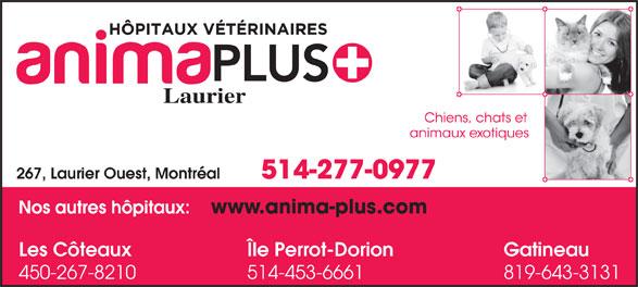 Hôpital Vétérinaire Anima-Plus Laurier (514-277-0977) - Annonce illustrée======= - 514-453-6661 Laurier 514-277-0977 267, Laurier Ouest, Montréal GatineauLes Côteaux Île Perrot-Dorion 819-643-3131450-267-8210