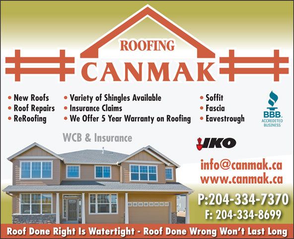 Canmak Roofing Amp Fencing 381 Belmont Ave Winnipeg Mb