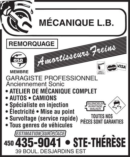 Mécanique L B (450-435-9041) - Annonce illustrée======= -