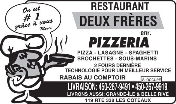 Restaurant Deux Frères Enr (450-267-9491) - Annonce illustrée======= -