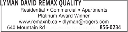 David Lyman (506-856-0234) - Display Ad - Residential • Commercial • Apartments Platinum Award Winner