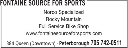 Fontaine Source For Sports (705-742-0511) - Display Ad - Norco Specialized Rocky Mountain Full Service Bike Shop www.fontainesourceforsports.com