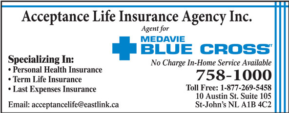 Acceptance Life Insurance Agency Inc (709-758-1000) - Annonce illustrée======= -