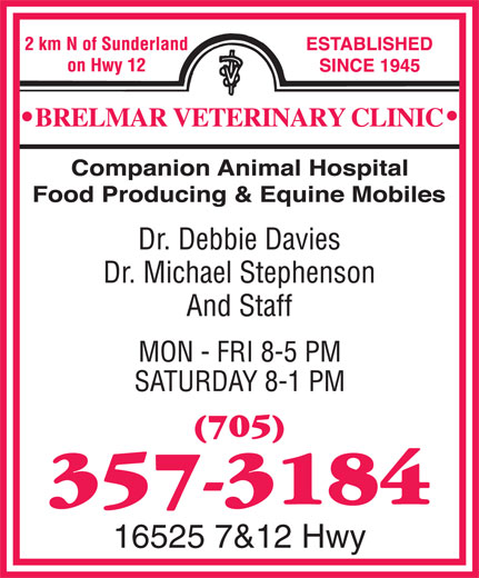 Brelmar Veterinary Clinic (705-357-3184) - Display Ad - 16525 7&12 Hwy