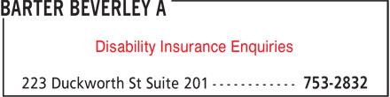 Beverley A. Barter (709-753-2832) - Annonce illustrée======= - Disability Insurance Enquiries