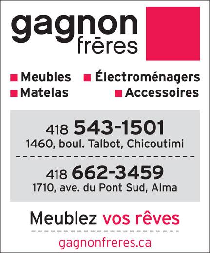 Gagnon Frères (418-543-1501) - Annonce illustrée======= -