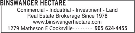 Hectare Commercial Realty Inc (905-624-4455) - Annonce illustrée======= - www.binswangerhectare.com Commercial - Industrial - Investment - Land Real Estate Brokerage Since 1978