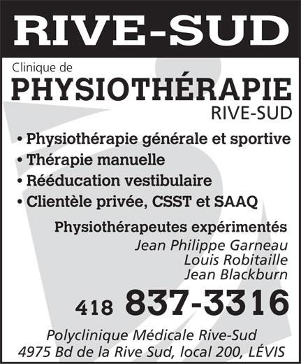 Clinique de Physiothérapie Rive-Sud (418-837-3316) - Annonce illustrée======= -