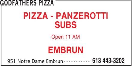 Godfathers Pizza (613-443-3202) - Annonce illustrée======= -