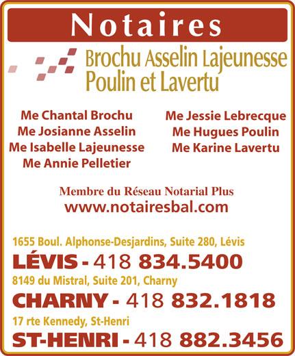 Brochu Asselin Lajeunesse Notaires (418-834-5400) - Annonce illustrée======= -