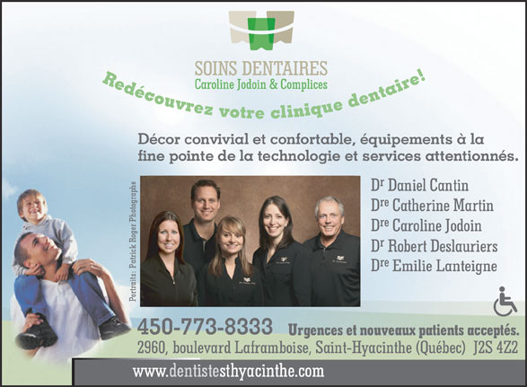 Soins Dentaires Caroline Jodoin & Complices (450-773-8333) - Display Ad -