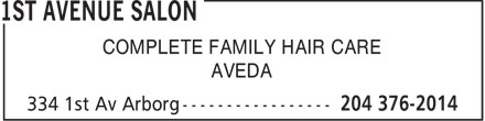 Salon 41 (204-642-7044) - Display Ad - COMPLETE FAMILY HAIR CARE AVEDA