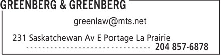 Greenberg & Greenberg (204-857-6878) - Display Ad -