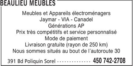 Meubles andre beaulieu inc sorel tracy qc 391 boul for Meubles detaillants montreal