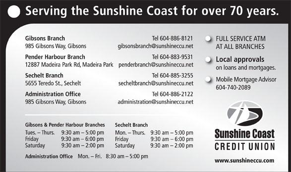 Sunshine Coast Credit Union (604-886-8121) - Annonce illustrée======= -