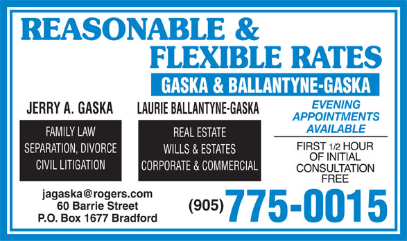 Gaska & Ballantyne (905-775-0015) - Display Ad -