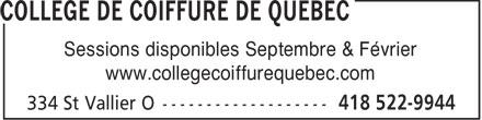 Collège de Coiffure de Québec (418-522-9944) - Display Ad -