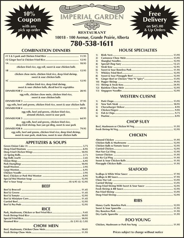 Chinese Food Restaurants Grande Prairie Alberta