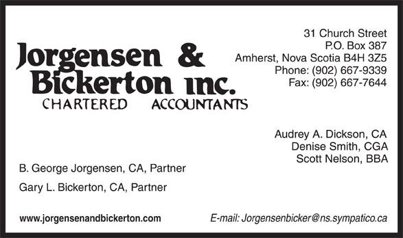 Jorgensen & Bickerton Inc (902-667-9339) - Annonce illustrée======= - www.jorgensenandbickerton.com