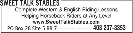 Sweet Talk Stables (403-207-3353) - Display Ad - Complete Western & English Riding Lessons Helping Horseback Riders at Any Level www.SweetTalkStables.com