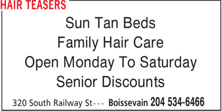 Hair Teasers (204-534-6466) - Annonce illustrée======= - Sun Tan Beds Family Hair Care Open Monday To Saturday Senior Discounts